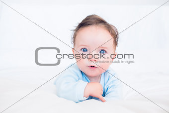 Innocent baby with blue eyes