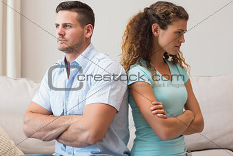 Couple quarreling in sitting room