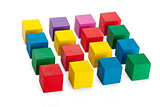 4*4 square of wooden toy cubes isolated on white background