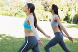 Sporty women exercising in park
