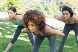 Dedicated women exercising