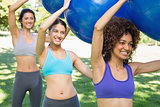 Sporty women exercising