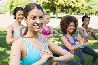 Multiethnic women exercising in park