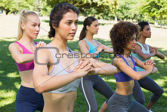 Sporty women exercising outdoors