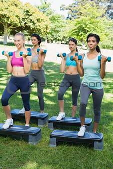Sporty women doing step aerobics with dumbbells