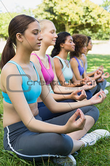 Friends sitting in lotus position
