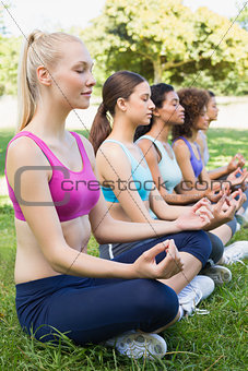 Women sitting in lotus position at park