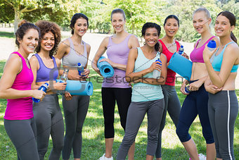 Sporty female friends in park