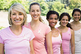 Volunteers participating in breast cancer awareness