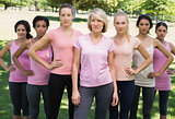 Women supporting breast cancer awareness