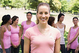 Woman at breast cancer campaign