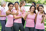 Breast cancer participants gesturing thumbs up