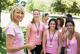 Confident participants at breast cancer campaign