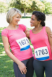 Women participating in breast cancer marathon