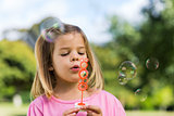 Cute girl blowing soap bubbles at park