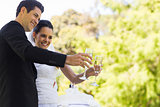 Newlywed toasting champagne flutes besides cake at park