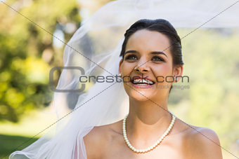 Close-up of a happy young beautiful bride