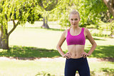 Healthy and beautiful woman in sports bra in park