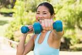 Healthy smiling woman exercising with dumbbells in park