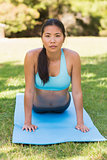 Healthy and beautiful woman exercising in park