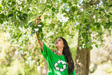 Woman in green recycling t-shirt touching leaves at park