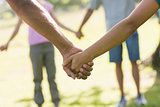 Mid section of friends holding hands in park