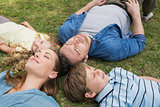 Family lying on grass with eyes closed at park