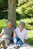 Relaxed couple sitting together against tree at park