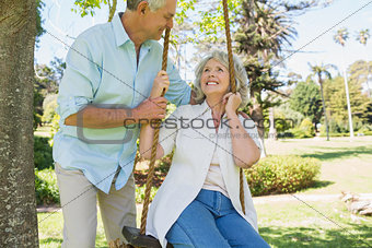 Loving mature couple at park