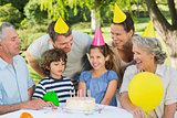 Extended family wearing party hats at birthday celebration in park