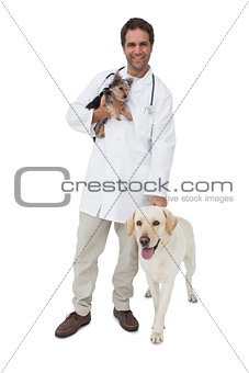 Happy vet smiling at camera with yorkshire terrier and yellow labrador