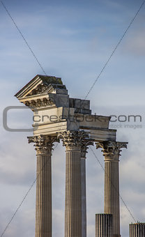 Old roman pillars in the  archeological park of Xanten
