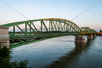 Bridge connecting two countries, Slovakia and Hungaria before su