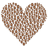 Background concept coffee beans in the shape of heart.