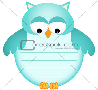 Blue Baby Owl with Label