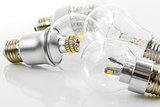 eco LED bulbs and classic tungsten bulb
