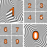 Design numbers set. Striped waving line textured font