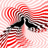 Silhouette of two doves. Design colorful striped twisting lines