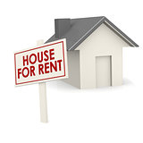 For rent banner with house