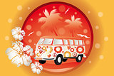 Retro bus with floral patterns - Stock Illustration