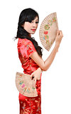 pretty women with Chinese traditional dress Cheongsam and hole C