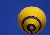 Hot air balloon on blue clear sky