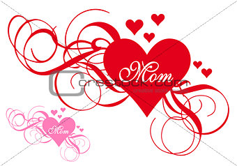 Red heart with swirls, mother's day card