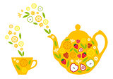 tea pot and cup with fruits, vector