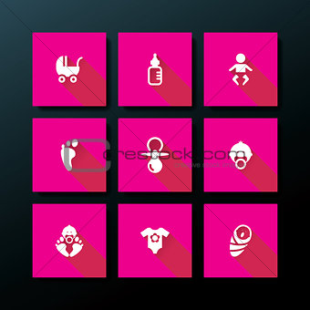 Vector flat baby icon set