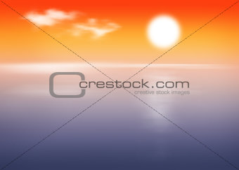 Beach and sea with sunset