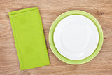 Empty green plates