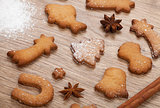 Gingerbread cookies with spices and flour