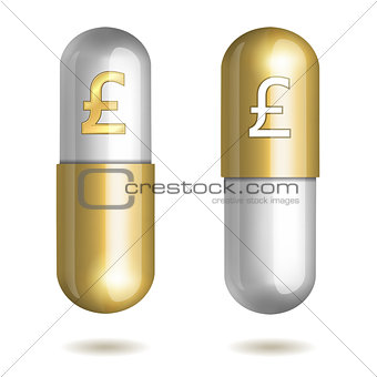 Capsule Pills with Pound Signs.