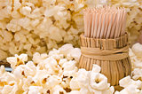 Wooden toothpicks in popcorn